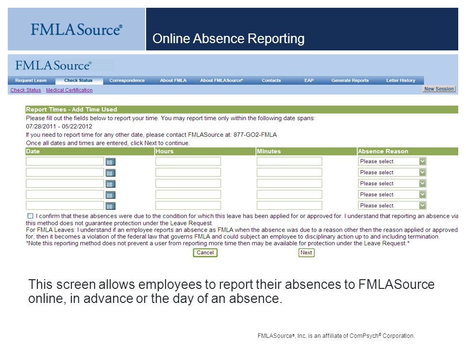 Online Absence Reporting
