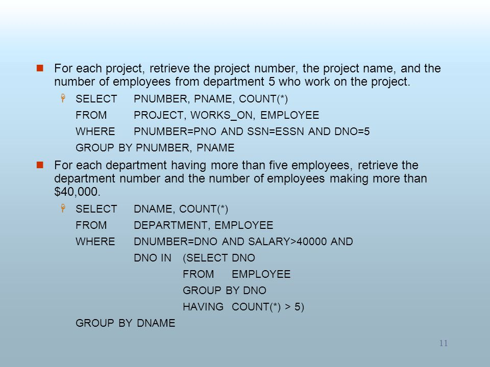 For each project, retrieve the project number, the project name, and the number of employees from department 5 who work on the project.