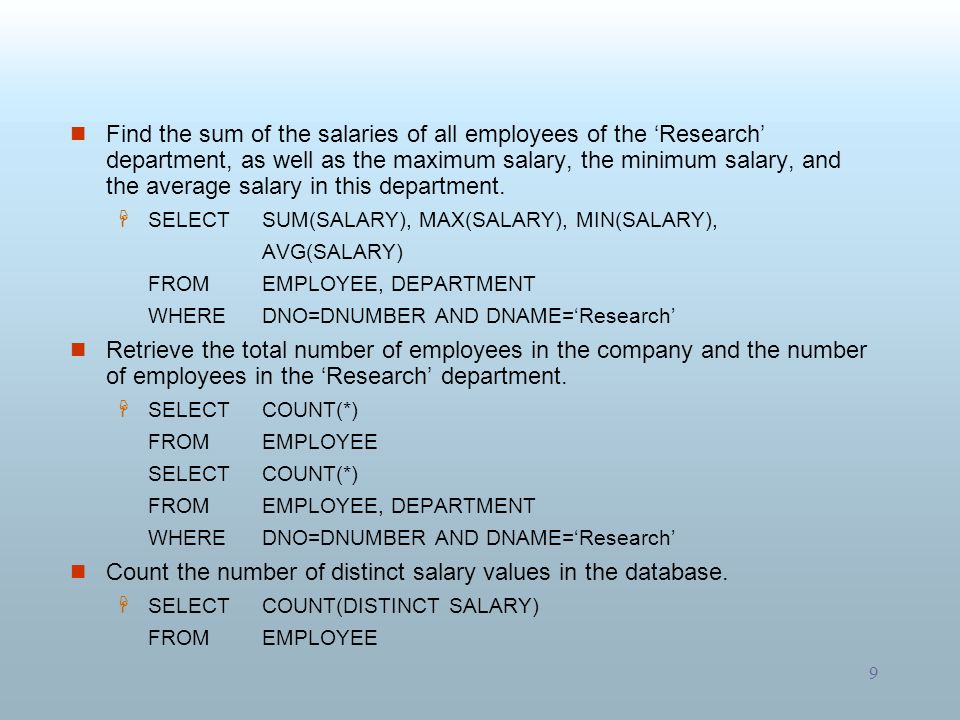 Count the number of distinct salary values in the database.