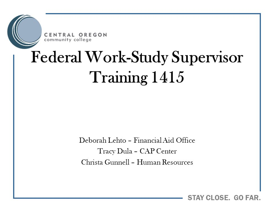 Federal Work-Study Supervisor Training 1415