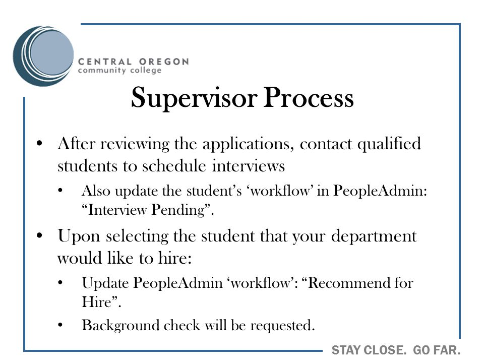 Supervisor Process After reviewing the applications, contact qualified students to schedule interviews.