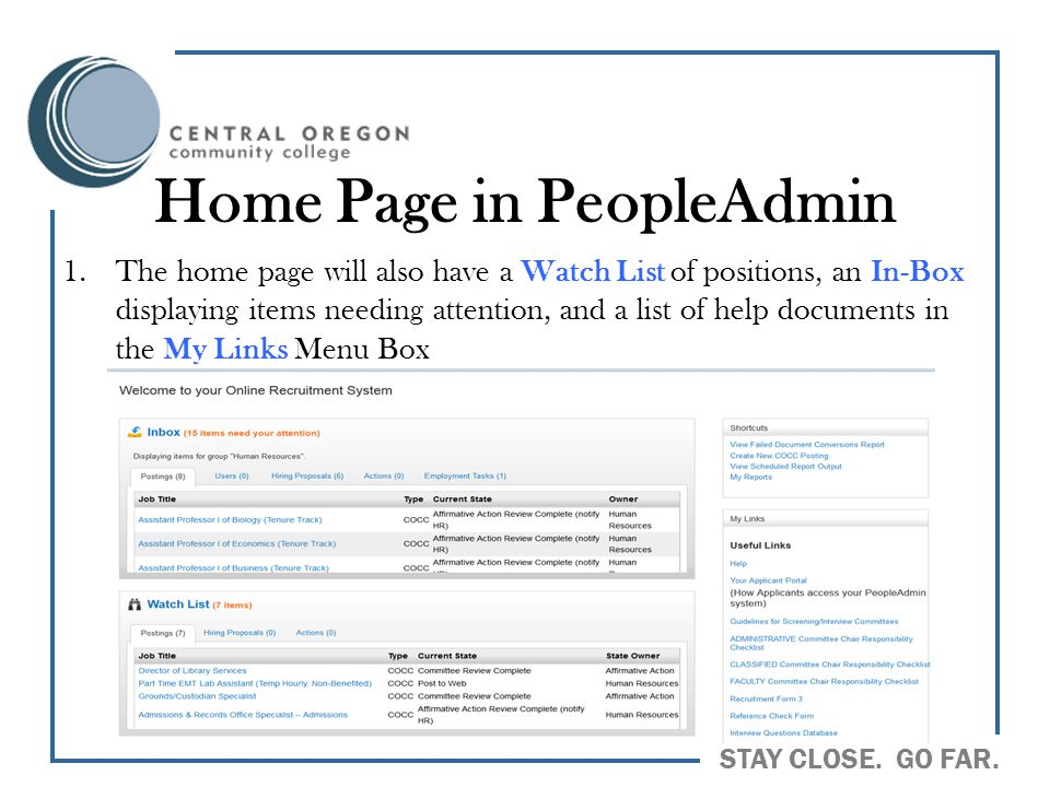 Home Page in PeopleAdmin