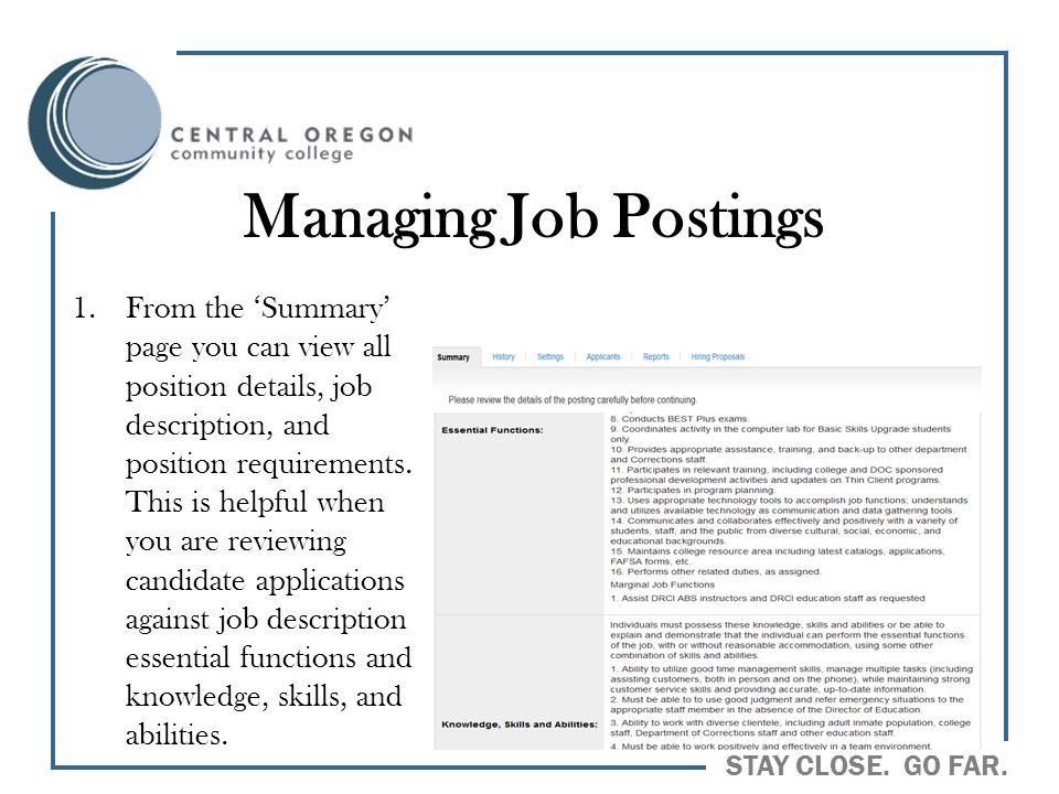 Managing Job Postings