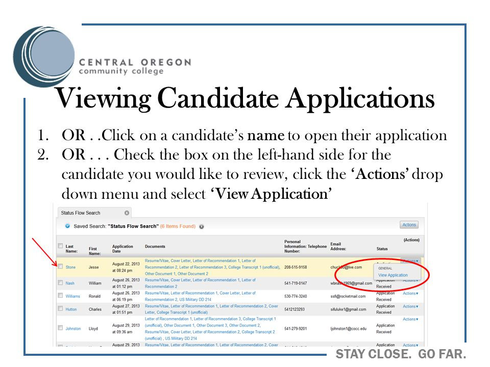 Viewing Candidate Applications