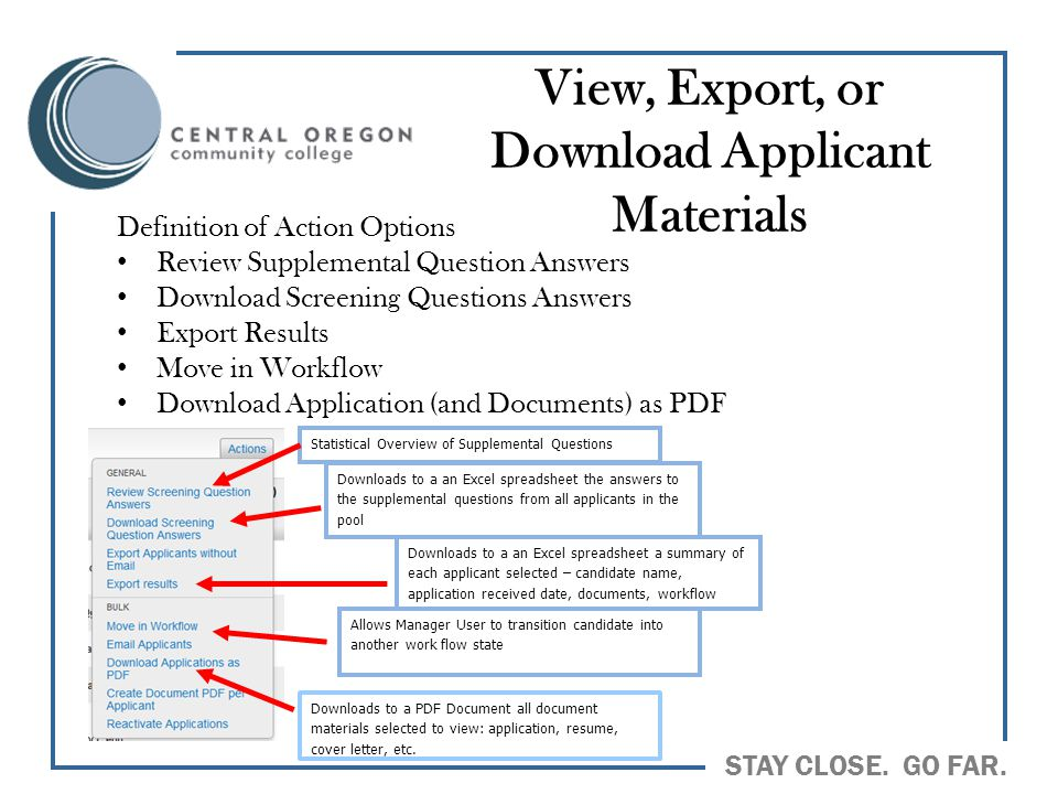 View, Export, or Download Applicant Materials