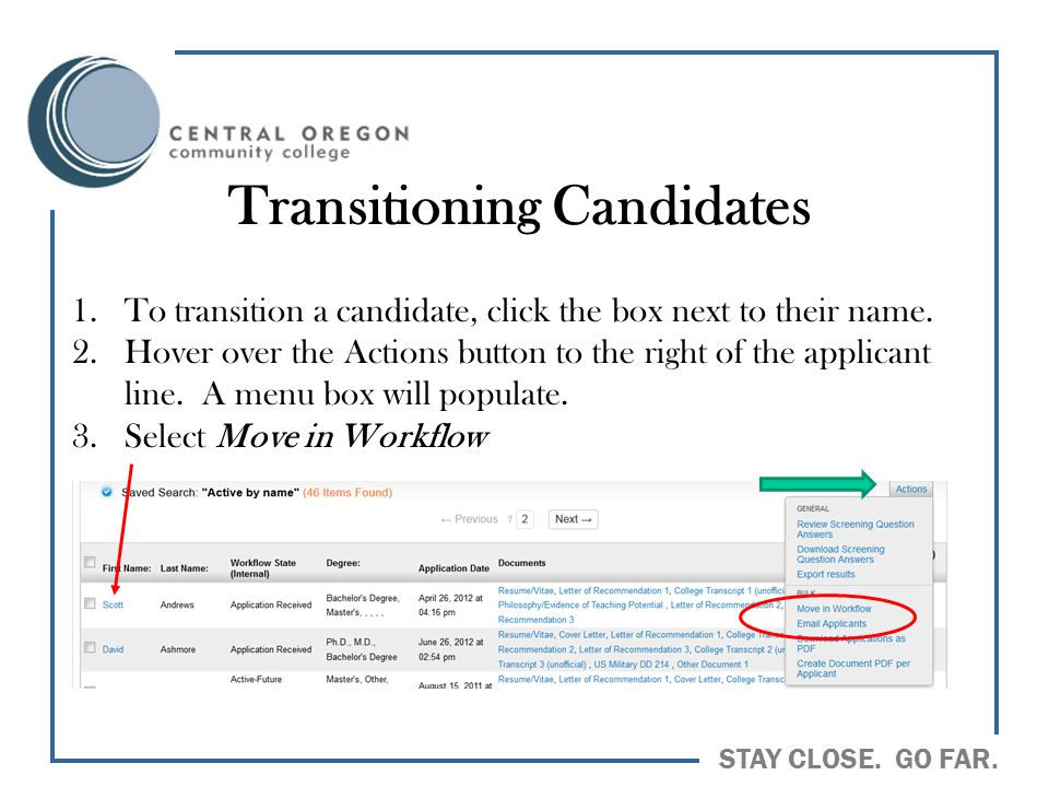 Transitioning Candidates