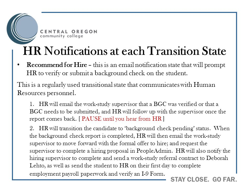 HR Notifications at each Transition State