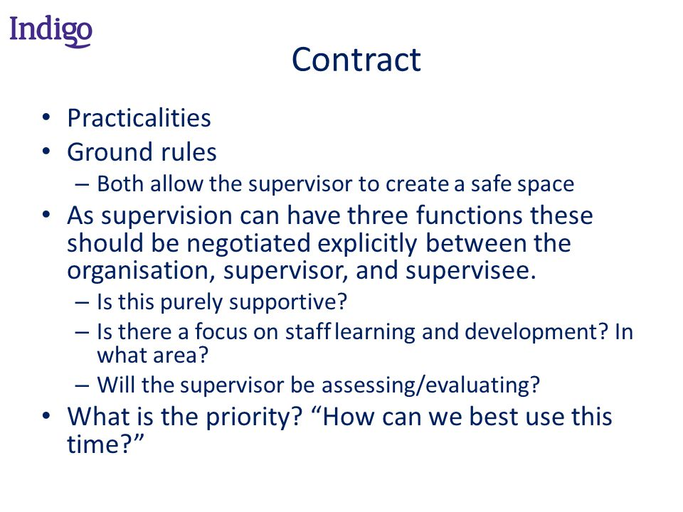 Contract Practicalities Ground rules