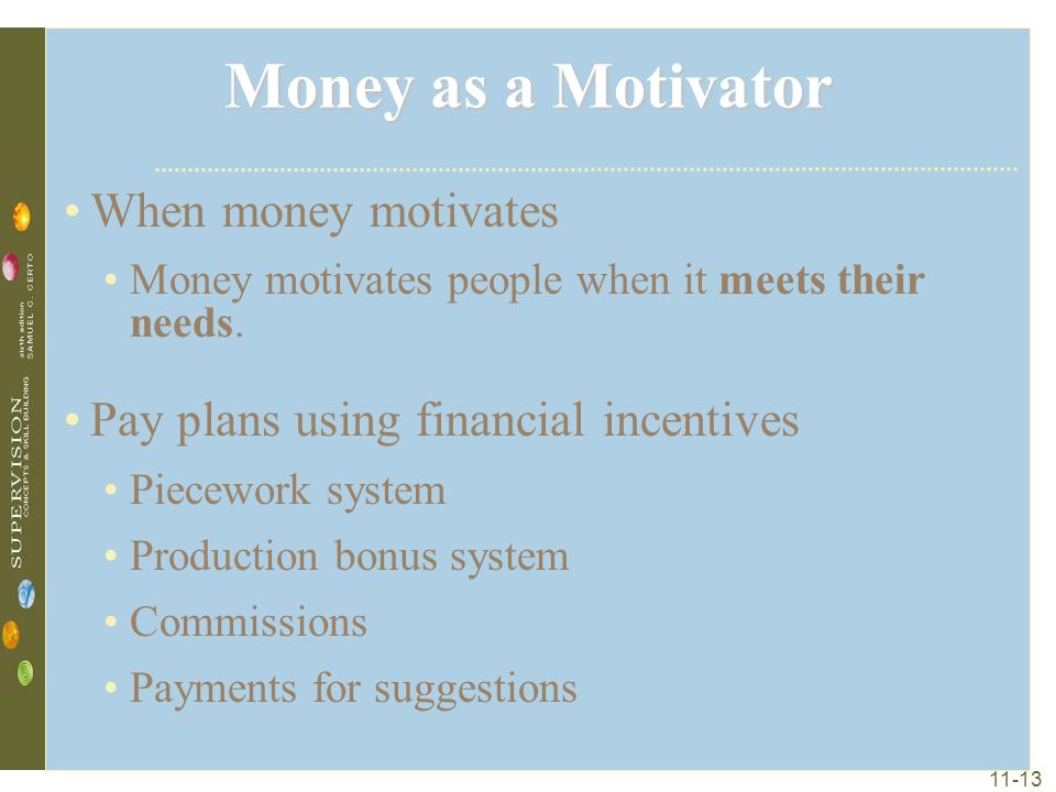 Money as a Motivator When money motivates