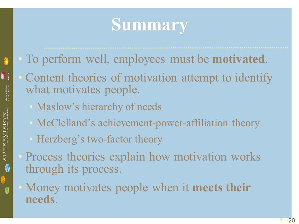 Summary To perform well, employees must be motivated.
