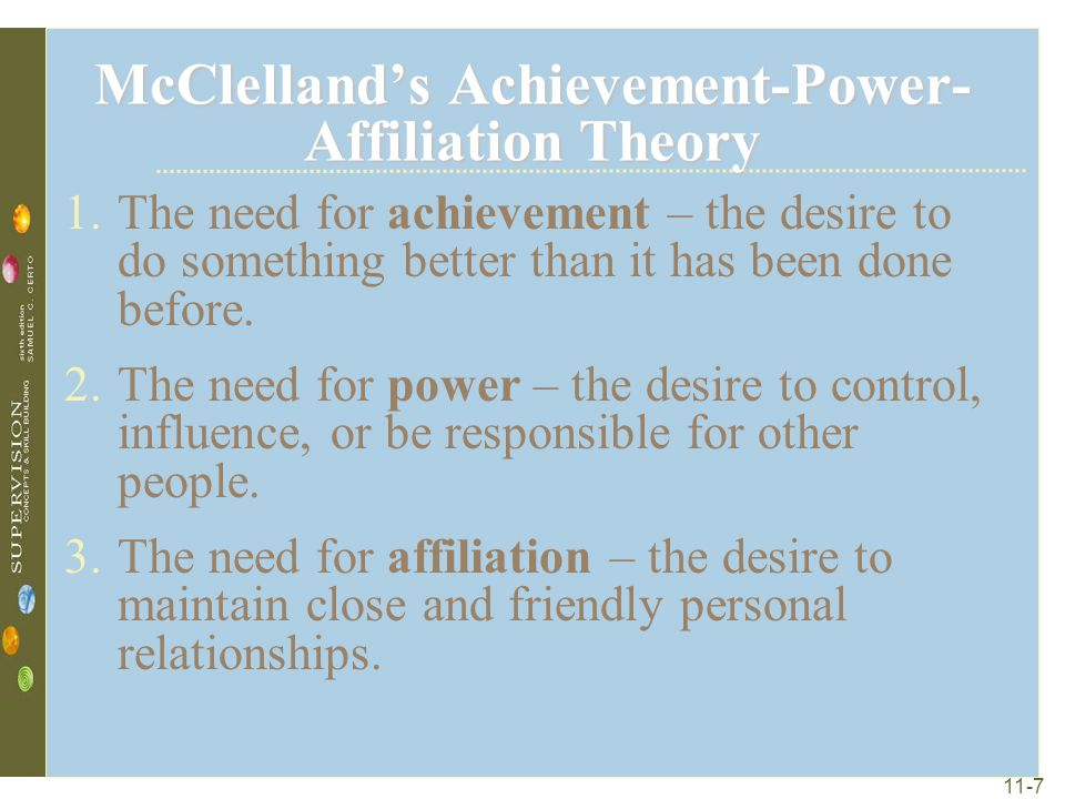 McClelland's Achievement-Power-Affiliation Theory