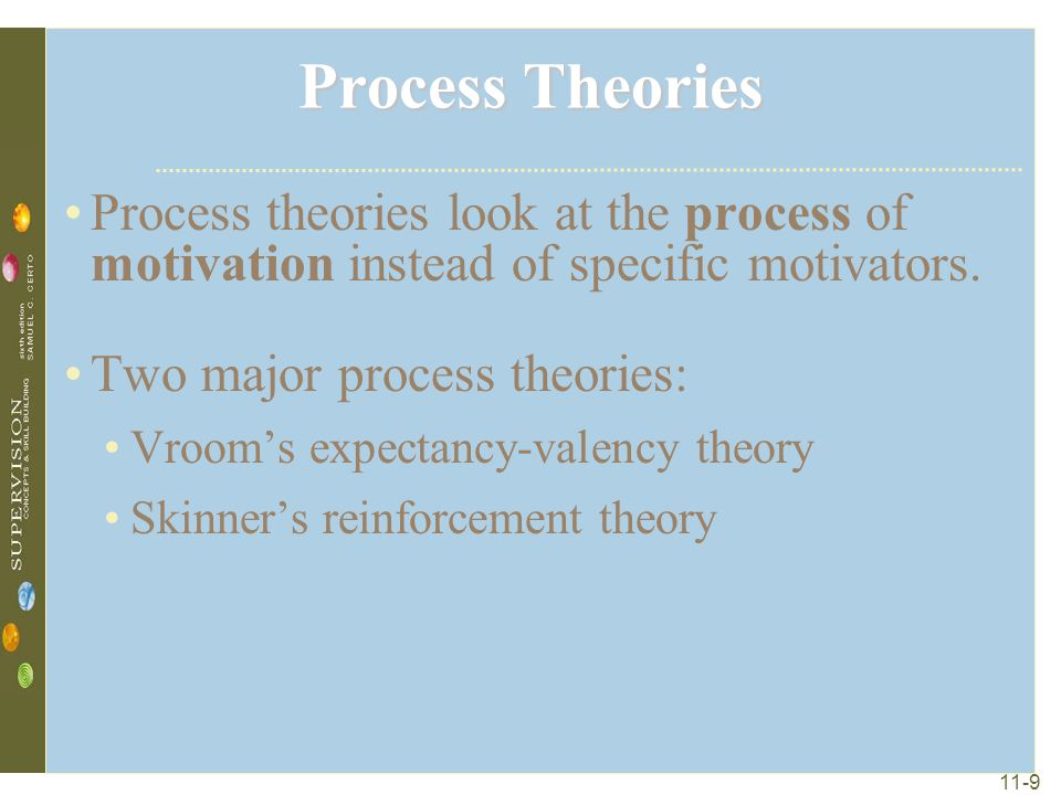 Process Theories Process theories look at the process of motivation instead of specific motivators.