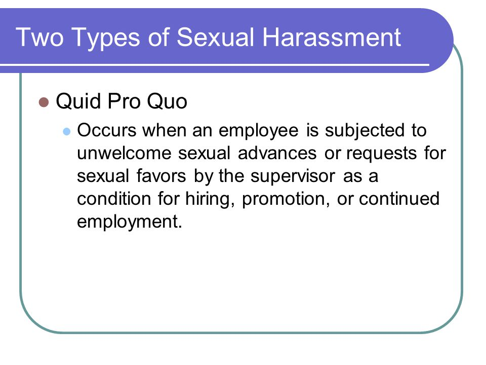 What Are Two Types Of Sexual Harassment