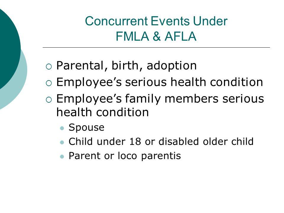 Concurrent Events Under FMLA & AFLA
