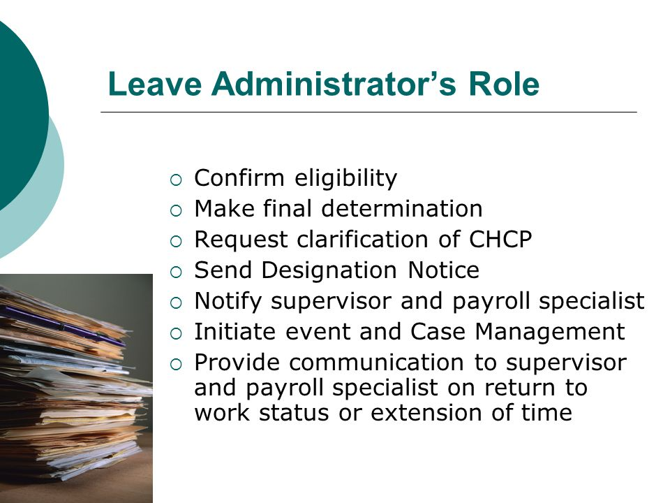 Leave Administrator's Role