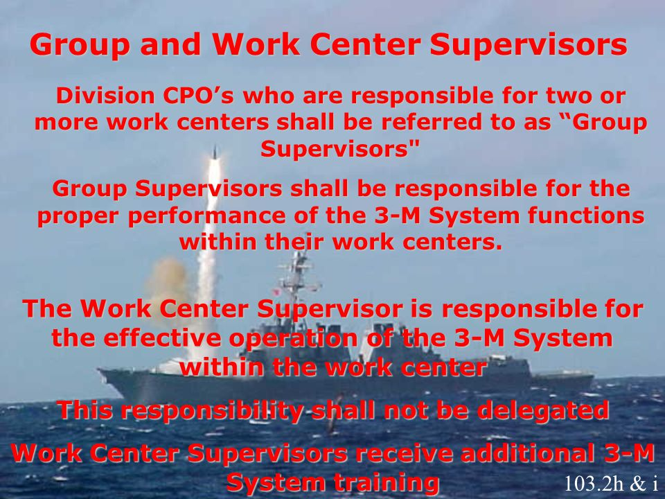 Group and Work Center Supervisors