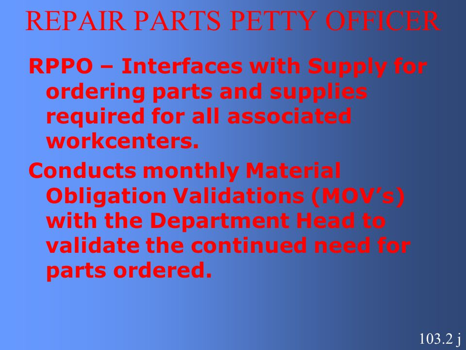 REPAIR PARTS PETTY OFFICER