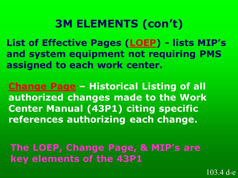 3M ELEMENTS (con't) List of Effective Pages (LOEP) - lists MIP's and system equipment not requiring PMS assigned to each work center.