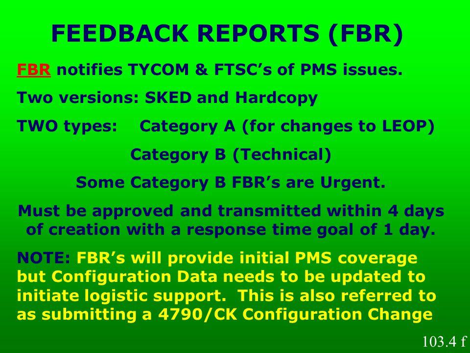 FEEDBACK REPORTS (FBR)