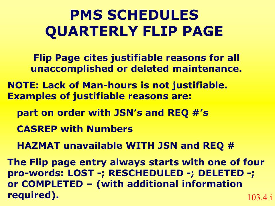 PMS SCHEDULES QUARTERLY FLIP PAGE
