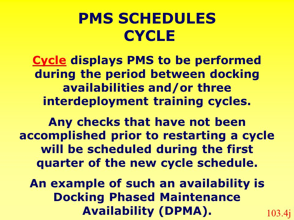 PMS SCHEDULES CYCLE