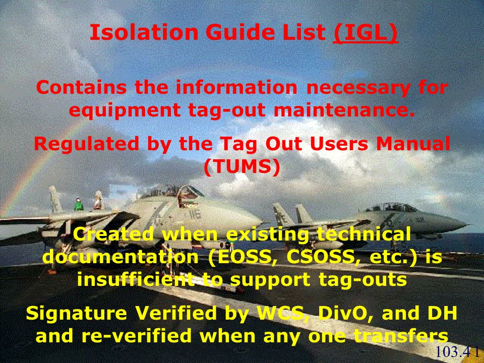 Isolation Guide List (IGL)