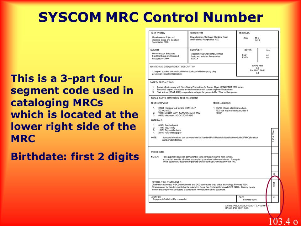 SYSCOM MRC Control Number