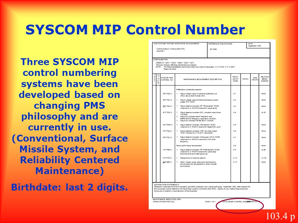 SYSCOM MIP Control Number