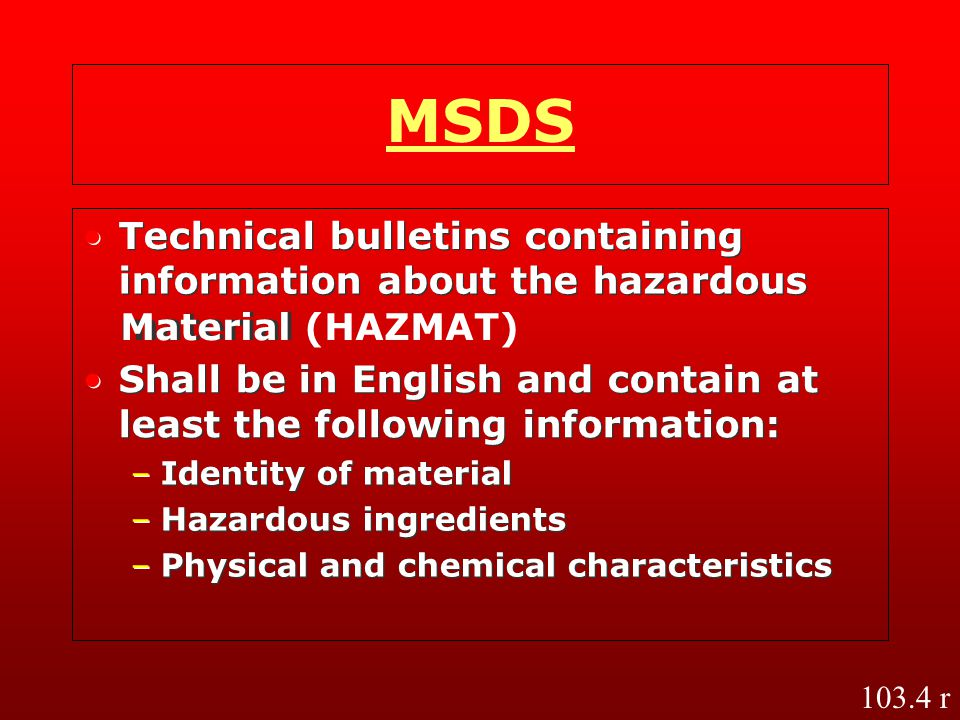 MSDS • • Technical bulletins containing Technical bulletins containing