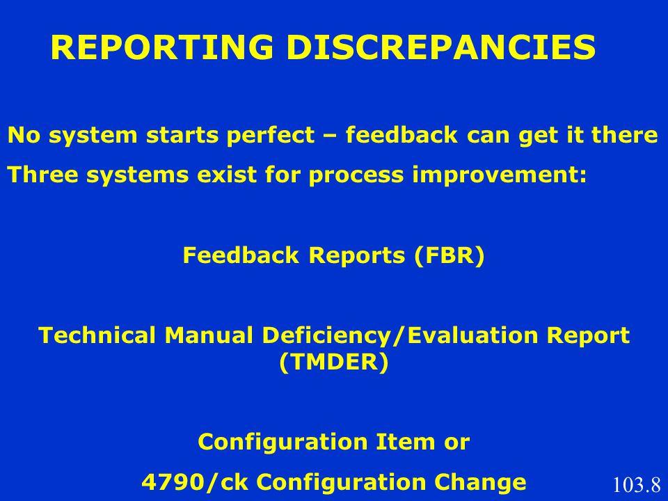 REPORTING DISCREPANCIES