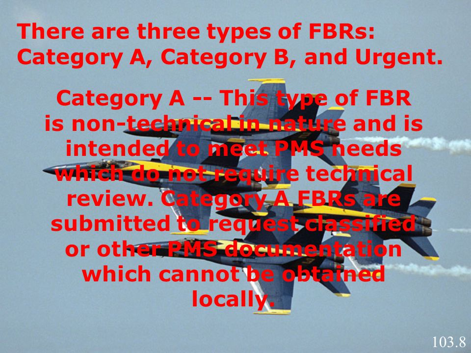 There are three types of FBRs: Category A, Category B, and Urgent.