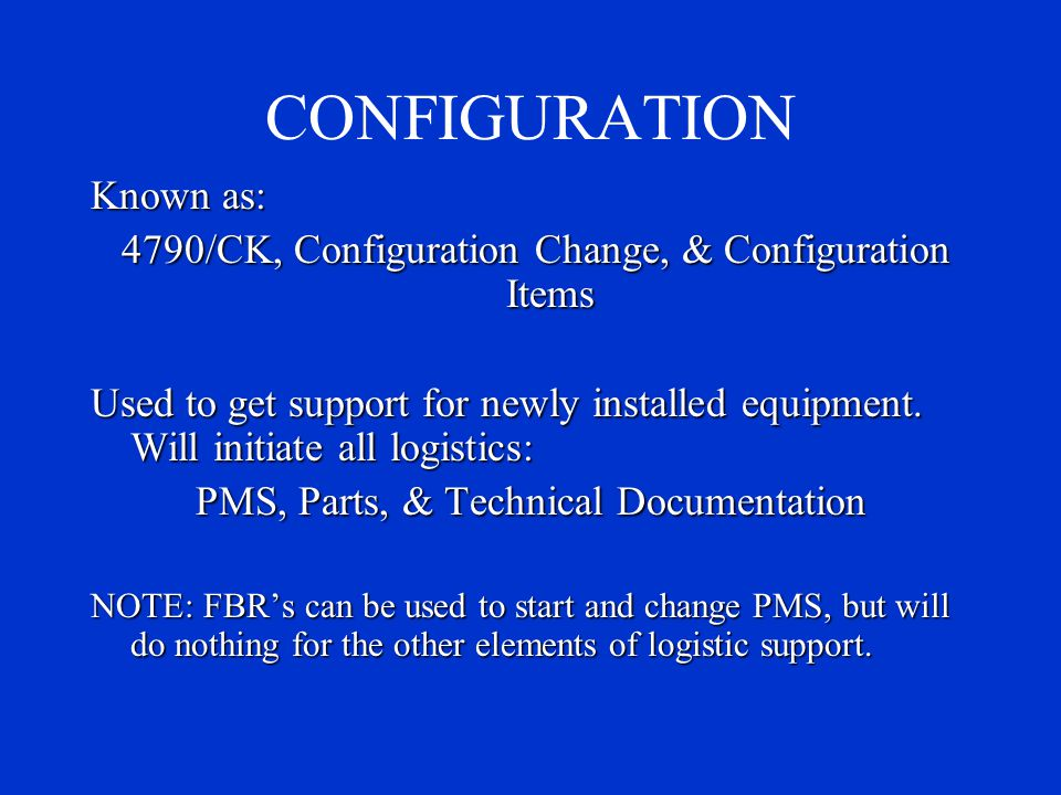 CONFIGURATION Known as: