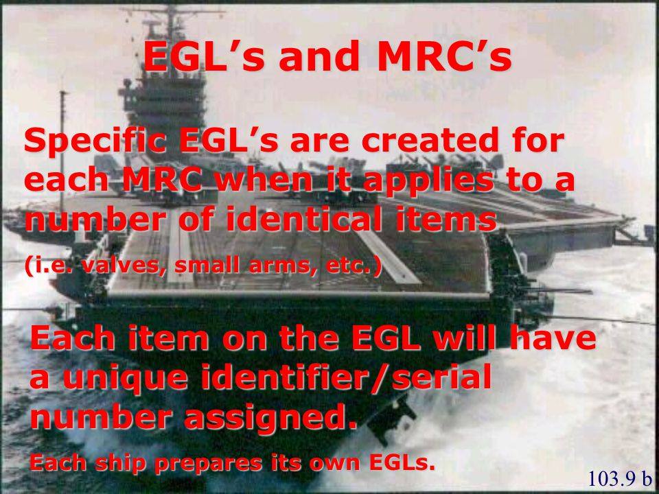 EGL's and MRC's Specific EGL's are created for each MRC when it applies to a number of identical items.