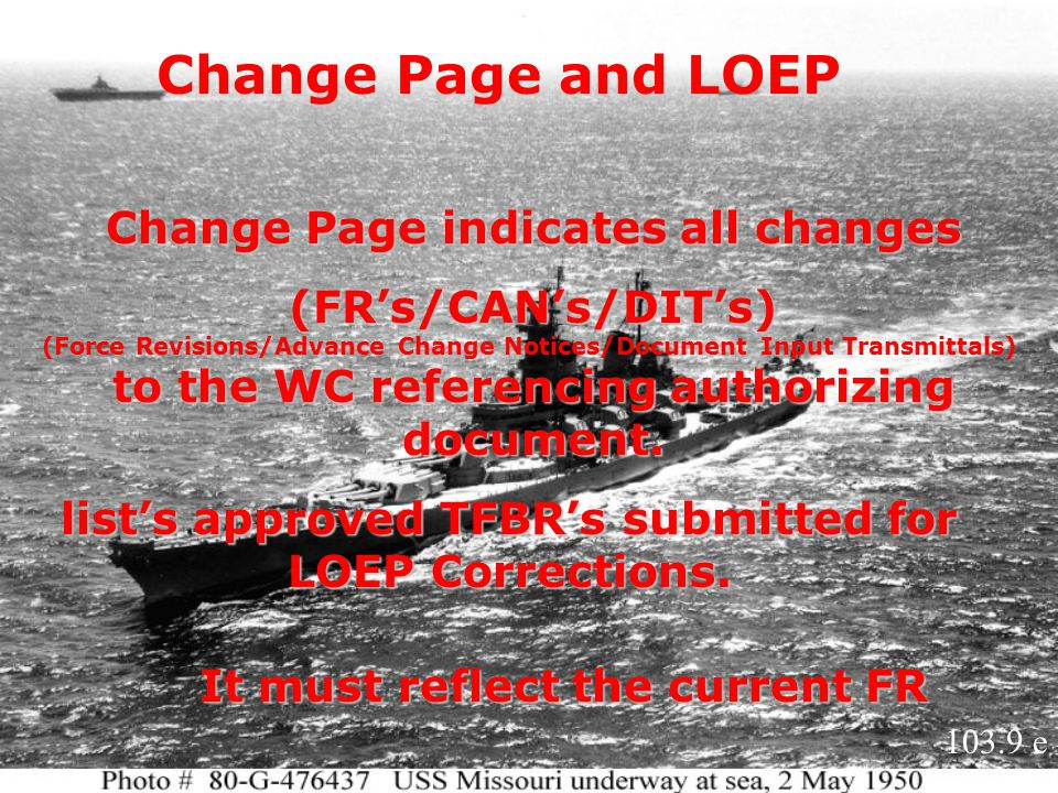 Change Page and LOEP Change Page indicates all changes