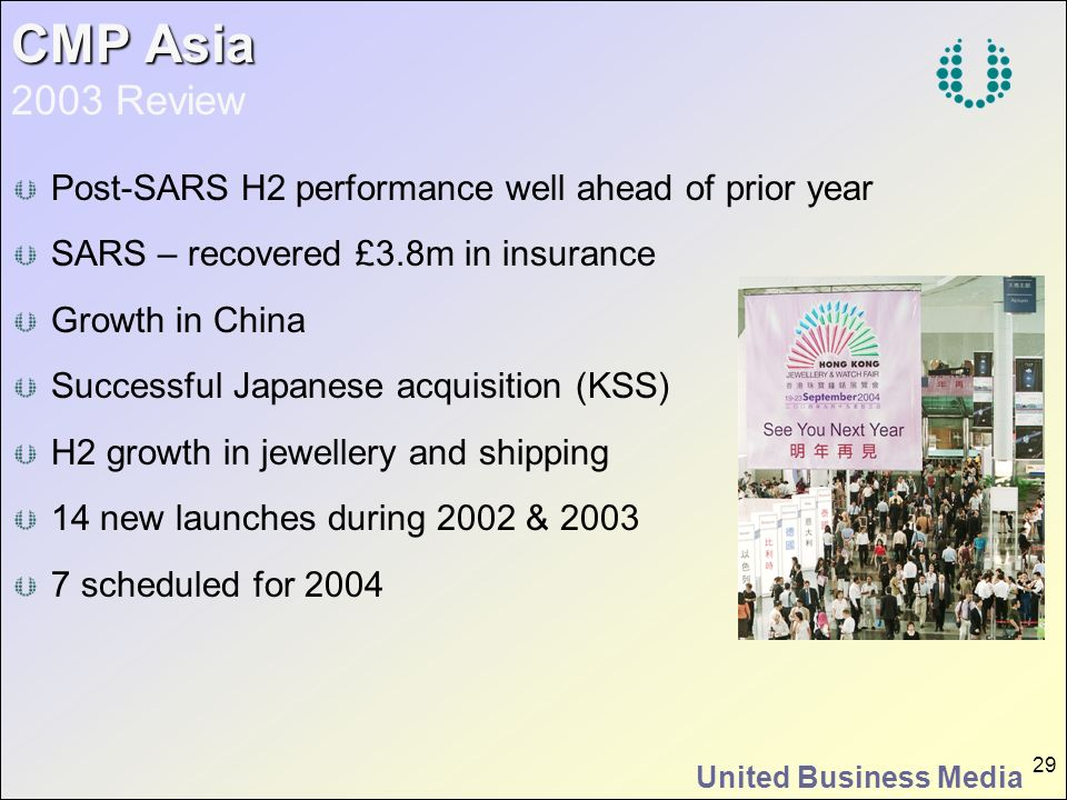 CMP Asia 2003 Review Post-SARS H2 performance well ahead of prior year