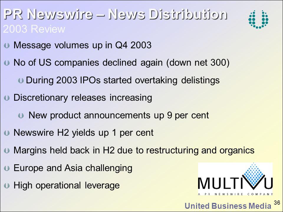 PR Newswire – News Distribution 2003 Review