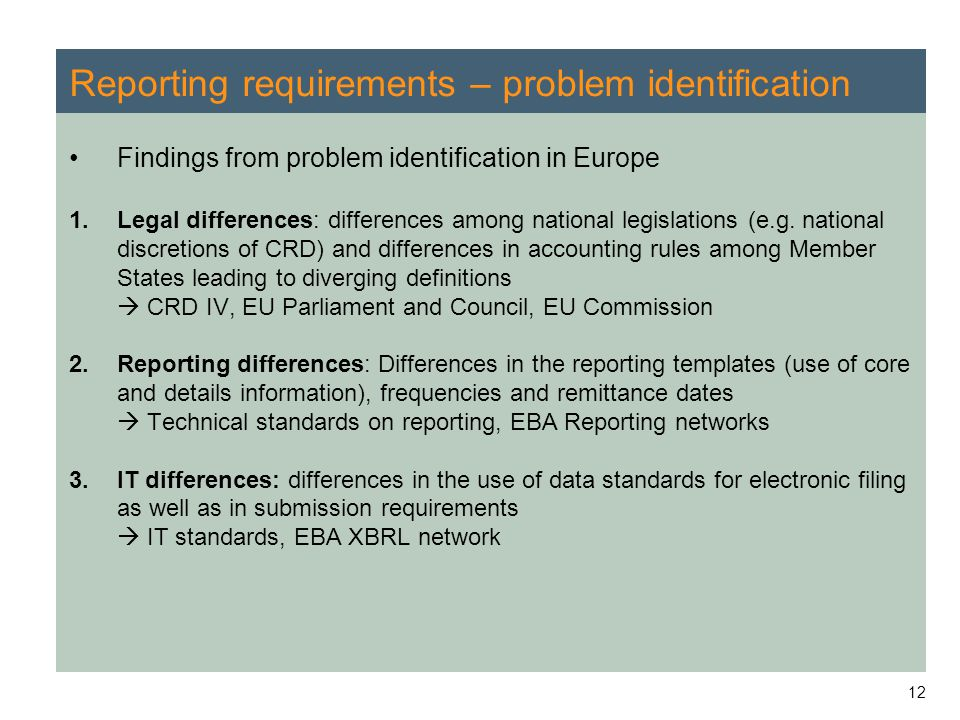 Reporting requirements – problem identification