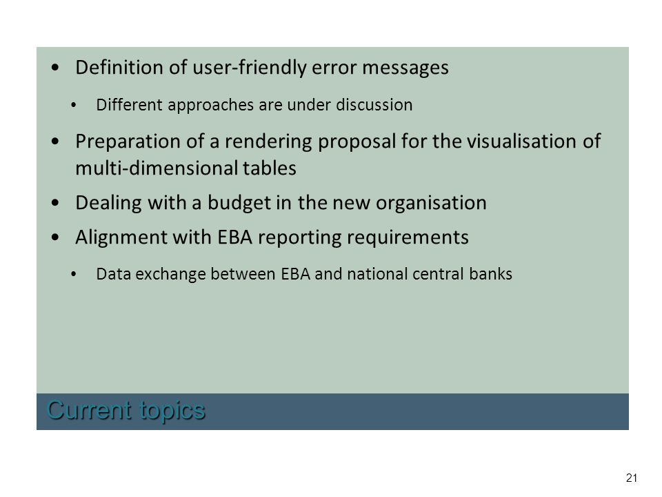Current topics Definition of user-friendly error messages