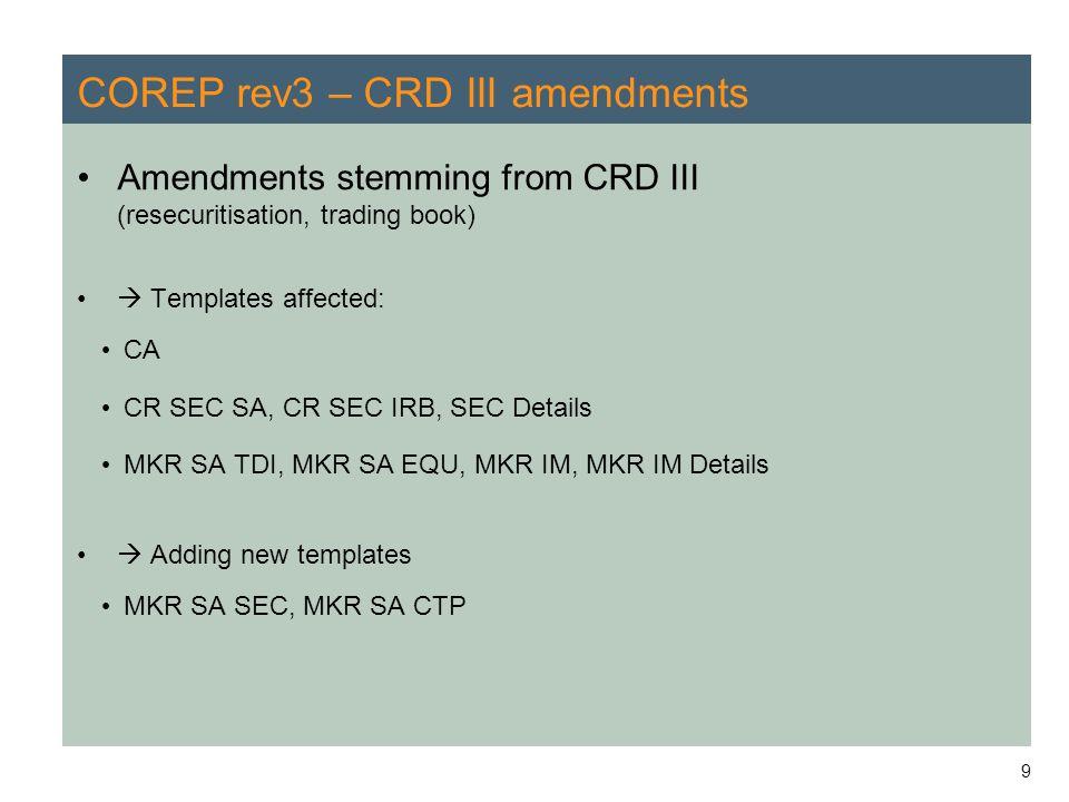 COREP rev3 – CRD III amendments