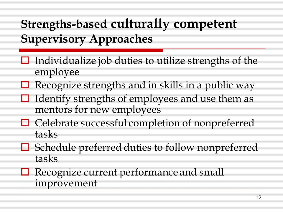 Strengths-based culturally competent Supervisory Approaches