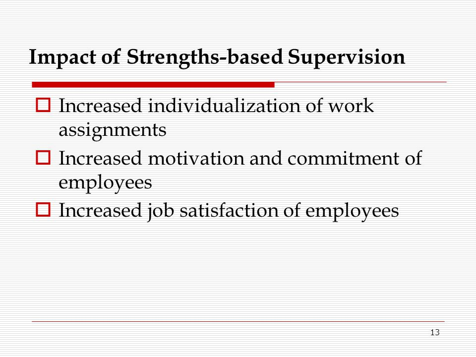 Impact of Strengths-based Supervision