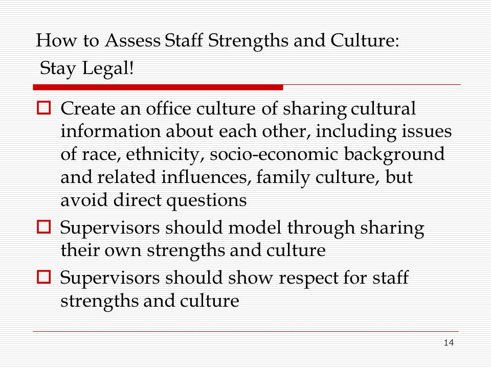 How to Assess Staff Strengths and Culture: Stay Legal!