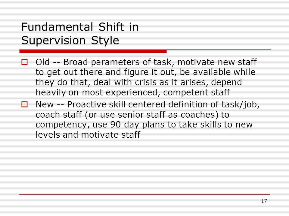 Fundamental Shift in Supervision Style