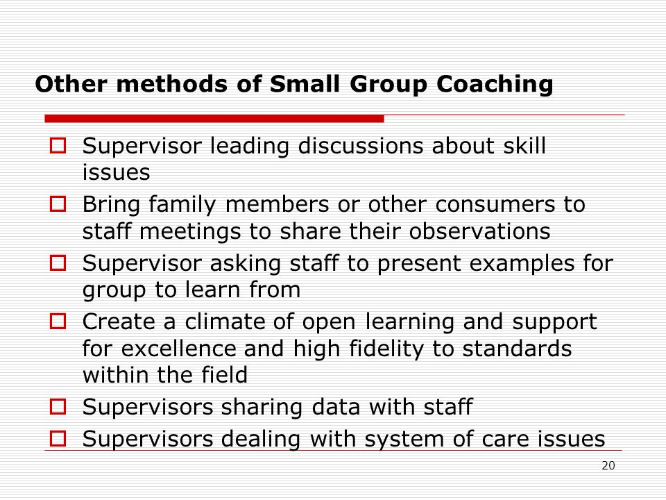 Other methods of Small Group Coaching