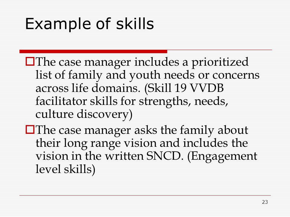 Example of skills