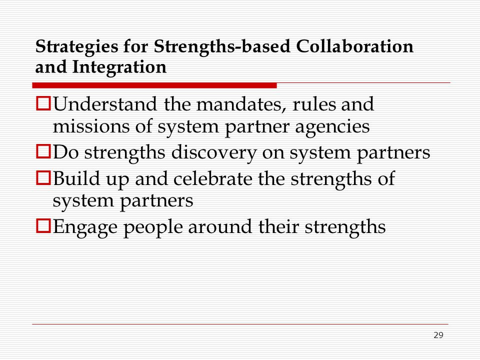 Strategies for Strengths-based Collaboration and Integration