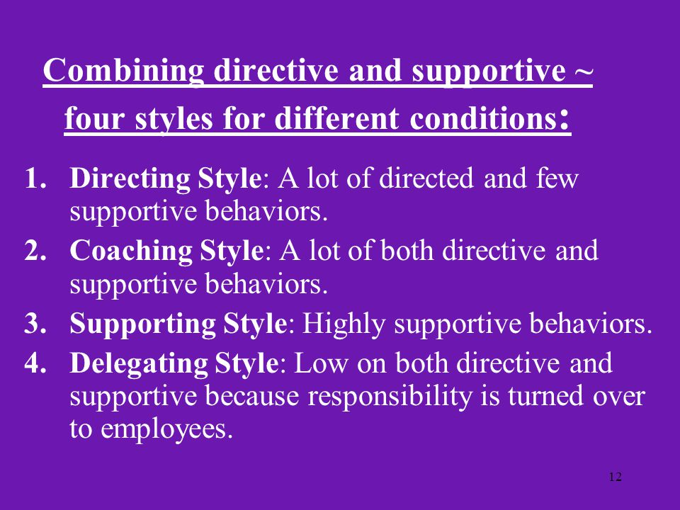 Combining directive and supportive ~ four styles for different conditions: