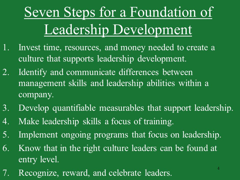 Seven Steps for a Foundation of Leadership Development