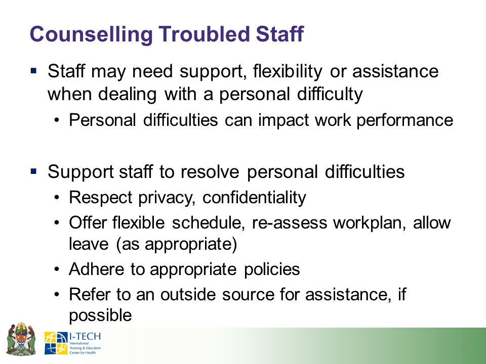 Counselling Troubled Staff