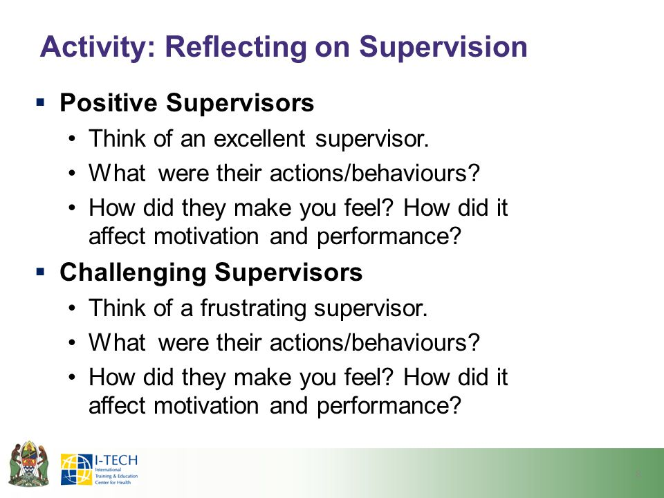 Activity: Reflecting on Supervision